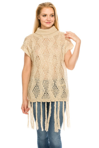JU0916 Sequins Cable Knit Sweater