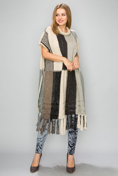 MT002 Mixed Color Block Poncho