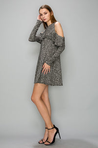 AD1165 Brushed Fabric Cold Sleeve Dress