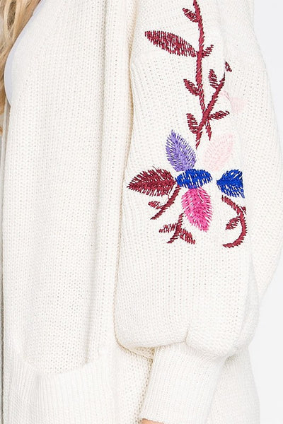 AO6001 3/4 Sleeve Sweater With Embroidery Detail