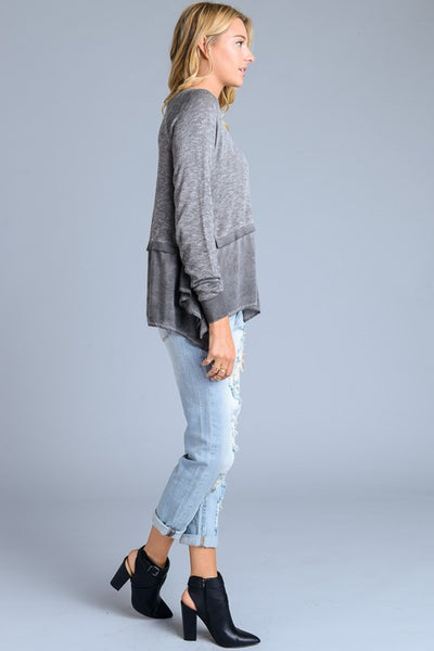 30388 Washed Sweater with Ruffles