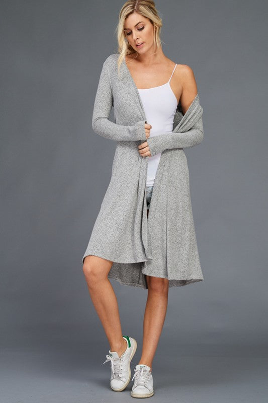 ST0047BR Brushed Long Line Duster Cardigan
