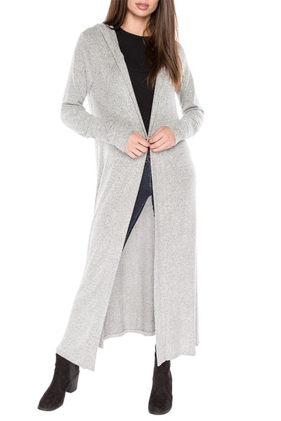 AT1122 Brushed Hoodie Long Line Cardigan Featuring An Open Front And Long Sleeve