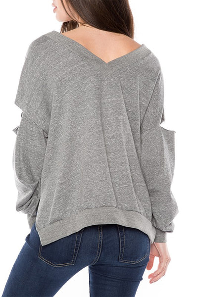 AT1133 French Terry V Neck Top