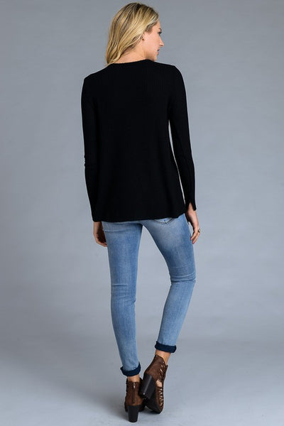 AT1024BK Raw Edge  Cut Sweater