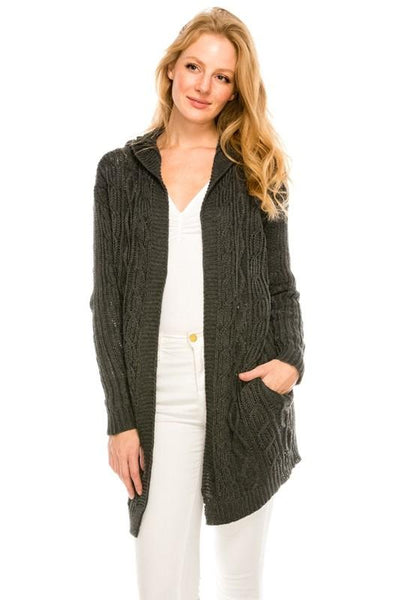 IS4008 Long Hooded Cardigan