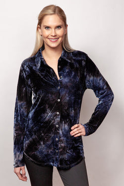 Tie Dyed Crushed Velvet Shirt