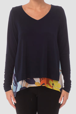 Long Sleeve Tunic with Print Underlay