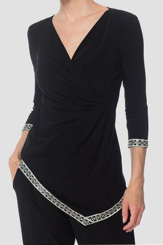 Surplice Top with Crystal Trim