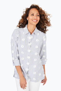 Libby Embroidered Striped Shirt