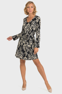 Long Sleeved Scroll Pattern Dress