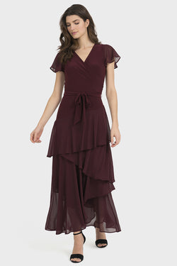 Chiffon Surplice Long Dress