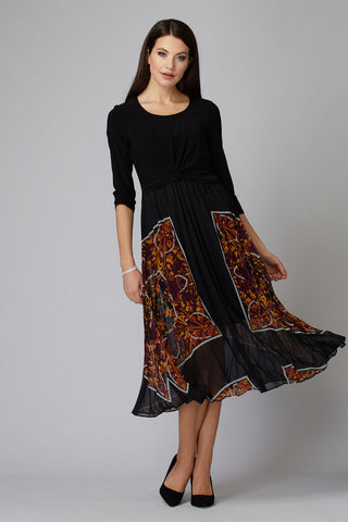 Pleated Leaf Print Dress