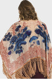 Floral Poncho With Fringe