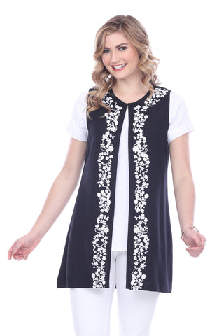 Embroidered Long Vest