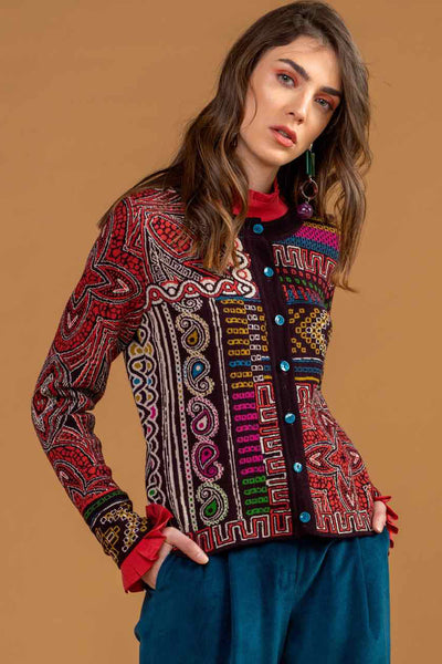 Geometric Pattern Cardigan