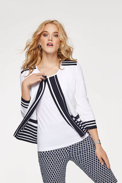 Navy Stripe Trimmed Cardigan