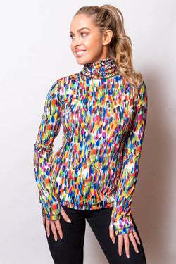 Printed Microfiber Turtleneck in 5 Colors
