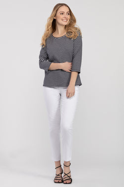 Striped Lace-Up Back Top in 2 Colors