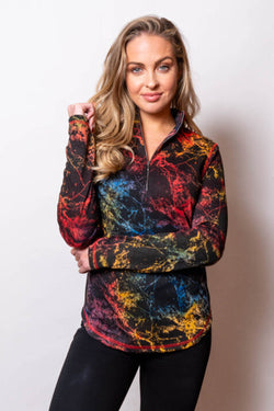 Marbleized Zip Neck Top