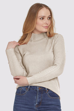 Ribbed Sleeve Mock Neck
