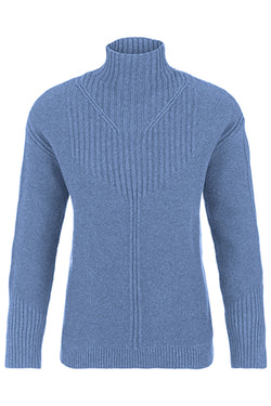 Pointelle Ribbed Mock Neck Sweater
