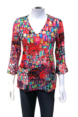 V-Neck Flutter Sleeve Top in 3 Prints