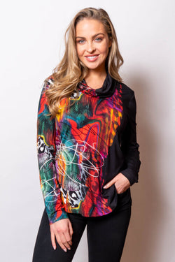 Printed Cowl Neck Top