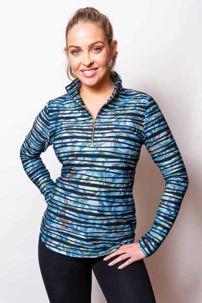 Twisted Print Zip Neck Top in 2 Colors