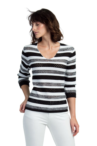 Textured Striped V-Neck Sweater