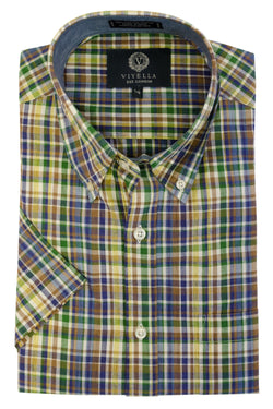 Short Sleeve Madras Plaid Shirt