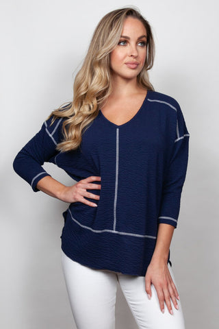Two Toned Seersucker Boyfriend Top