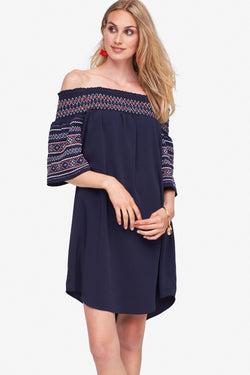 Off the Shoulder Smock Dress