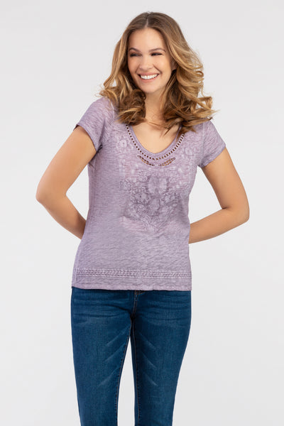 Tonal Embroidered Slub Tee