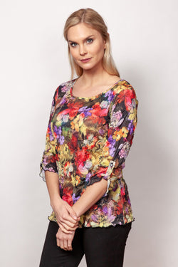 Crinkle Printed Ballet Neck Top in 2 Prints