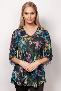 Crinkle V-Neck Top in 3 Prints