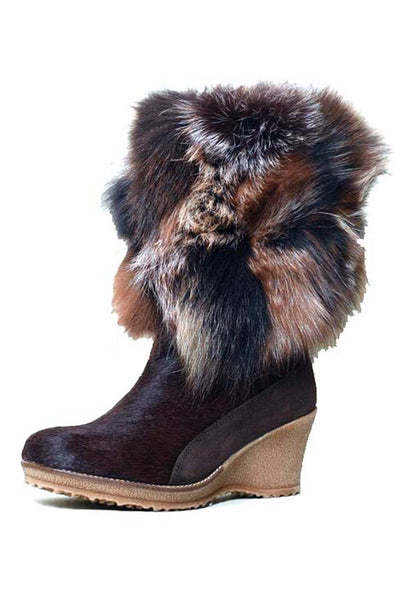 Angelina Fur Wedge Boot
