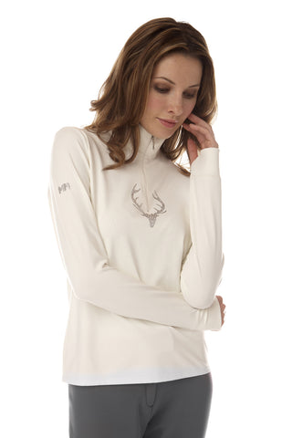 Deidre Stag Zip Neck Top