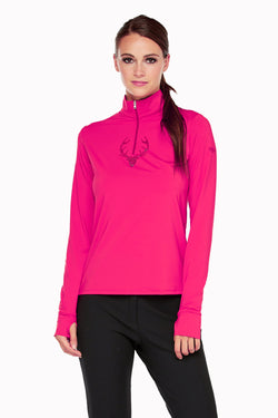 Deidre Crystal Stag Zip Neck in 3 Colors