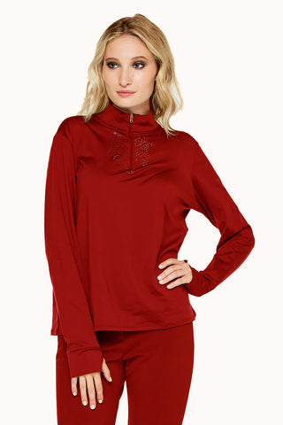Fluer Zip Neck Top