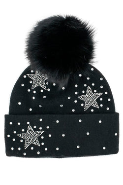 Crystal Star Hat with Pom