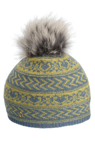 Karina Fairisle Print Hat with Pom in 2 Colors