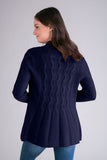 Cabled Back Open Cardigan in 2 Colors