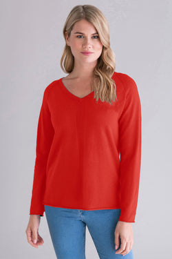 Ribbed Front V-Neck Pullover