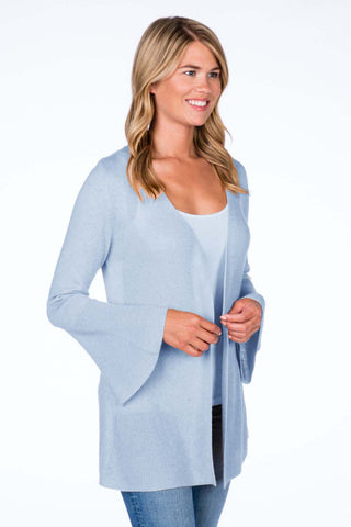 Bell Sleeve Ribbed Cardigan