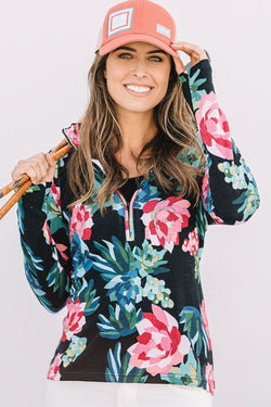 Vera Floral Zip Neck Sweater