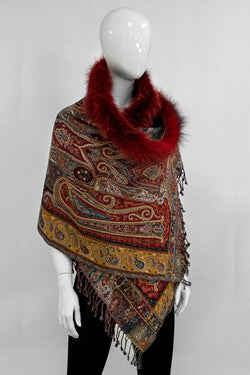 Paisley Wrap with Fur Trim