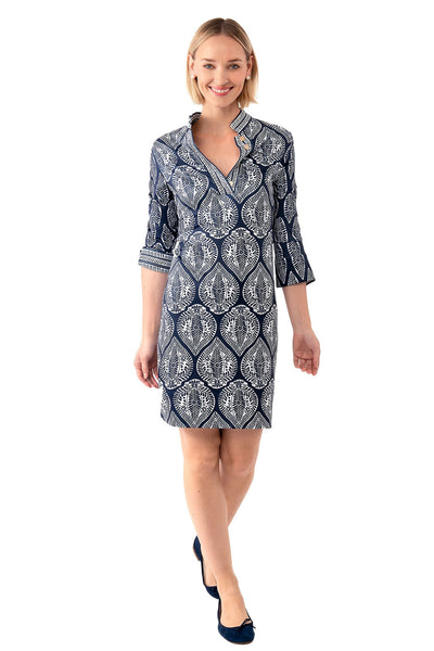 Leaf Print Mandarin Collar Dress