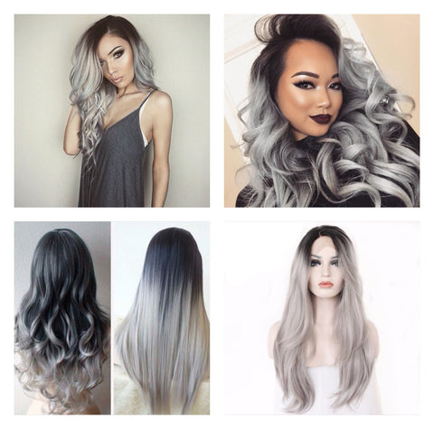 Handmade Black Ombre Grey Hair