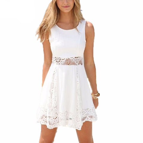 White Solid lace Women Casual A-line